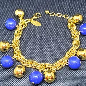 "Talbots bracelet 9"" blue & gold"
